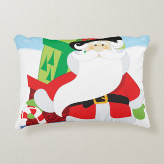 santa in tophat by  stack of presentts decorative pillow