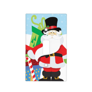 santa in tophat by  stack of presentts light switch cover
