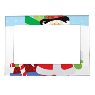 santa in tophat by  stack of presentts magnetic picture frame