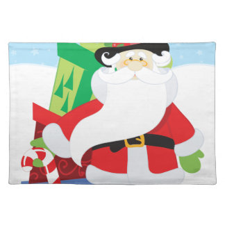 santa in tophat by  stack of presentts placemat
