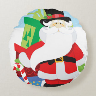 santa in tophat by  stack of presentts round pillow