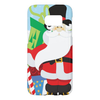 santa in tophat by  stack of presentts samsung galaxy s7 case
