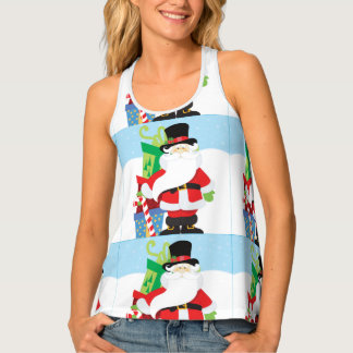 santa in tophat by  stack of presentts tank top