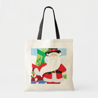 santa in tophat by  stack of presentts tote bag