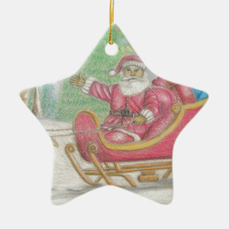 Santa is coming ceramic ornament