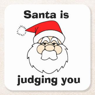 Santa is Judging You Square Paper Coaster