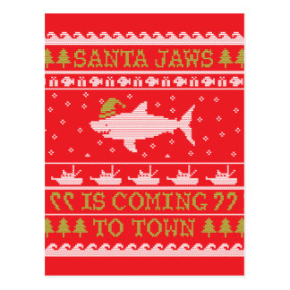 Santa Jaws Ugly Sweater Christmas Shark Postcard