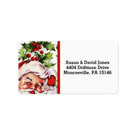 Santa jolly holly mistletoe vintage label