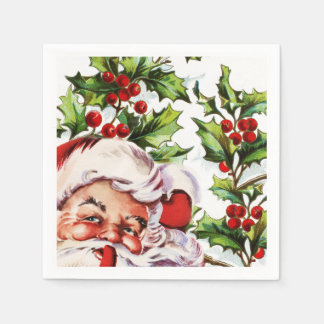 Santa jolly holly mistletoe vintage napkin