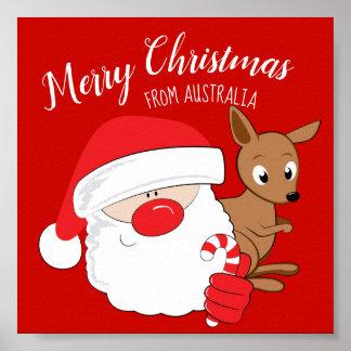Santa & Kangaroo Poster
