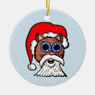 Santa Kitty Ceramic Ornament