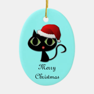 Santa kitty ceramic ornament