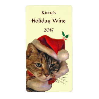 Santa Kitty Christmas Wine Label Shipping Label