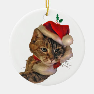 Santa Kitty with Holly Ceramic Ornament