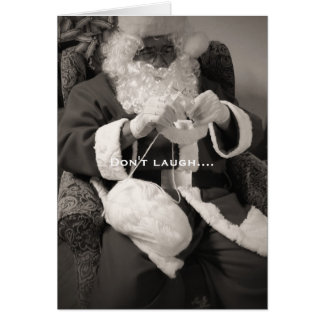 Santa Knitting for Winter Greeting Card