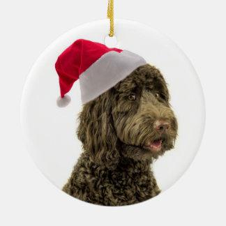 Santa Labradoodle Ornament