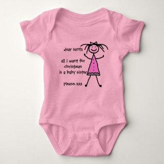 Santa letter baby sister wanted baby bodysuit
