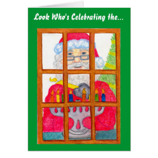 Santa Lighting Menorah Card