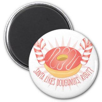 Santa Likes Doughnuts 2 Inch Round Magnet