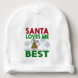 Santa loves me best Christmas Baby Beanie