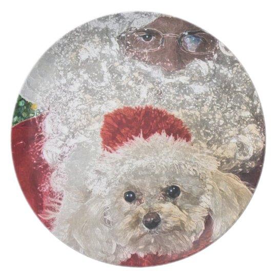 Santa Loves Poodles Plate