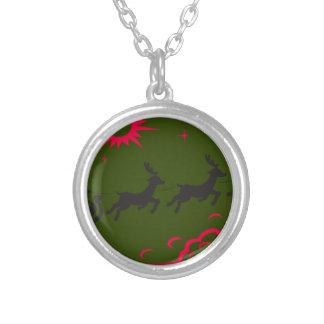 santa merry christmas silver plated necklace