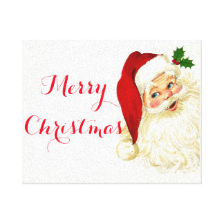 Santa Merry Christmas Wrapped Canvas
