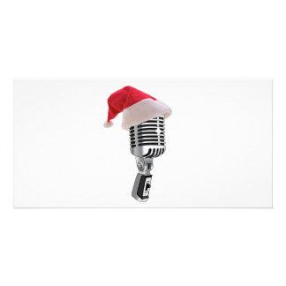 santa microphone custom photo card
