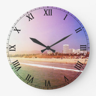 Santa Monica Beach - Green Purple Photo Edit Large Clock