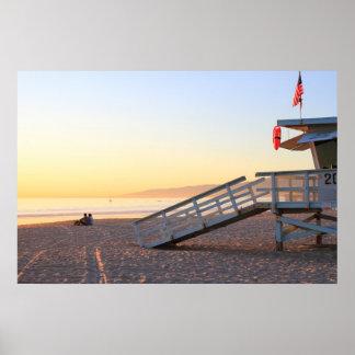 Santa Monica Beach Lifeguard Tower Sunset Poster