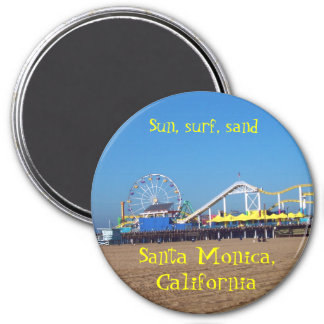 Santa Monica Beach Roller Coaster,  California Pie 3 Inch Round Magnet