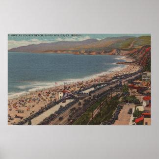 Santa Monica, CA - Los Angeles County Beach Scen Poster
