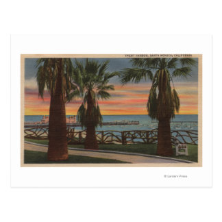 Santa Monica, CA - Yacht Harbor and Sunset View Postcard