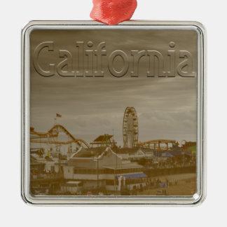Santa Monica California Silver-Colored Square Ornament