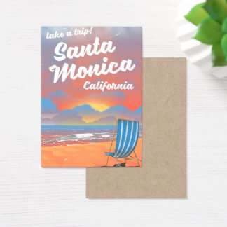 Santa Monica California vintage beach poster Business Card