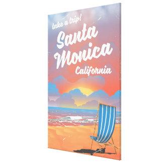 Santa Monica California vintage beach poster Canvas Print
