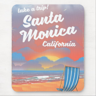 Santa Monica California vintage beach poster Mouse Pad