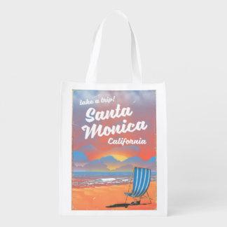 Santa Monica California vintage beach poster Reusable Grocery Bag