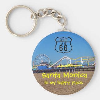 Santa Monica Happy Place Basic Round Button Keychain