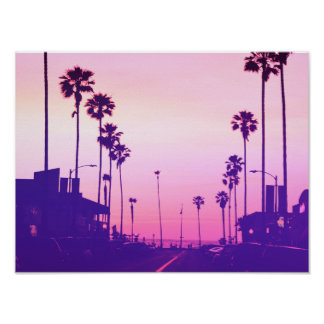 Santa Monica in pink Poster