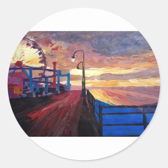 Santa Monica Pier At Dawn Classic Round Sticker