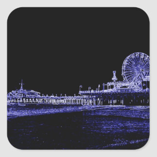 Santa Monica Pier Blue Neon Night Photo Edit Square Sticker