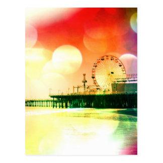 Santa Monica Pier - Bursting Colours Photo Edit Postcard