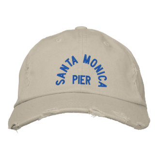 SANTA MONICA PIER Distressed Chino Twill  Cap Embroidered Hats