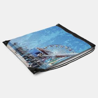 Santa Monica Pier Drawstring Bag