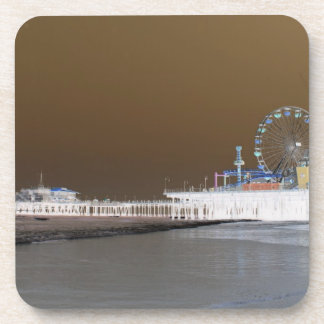 Santa Monica Pier Grey Brown Photo Edit Beverage Coasters