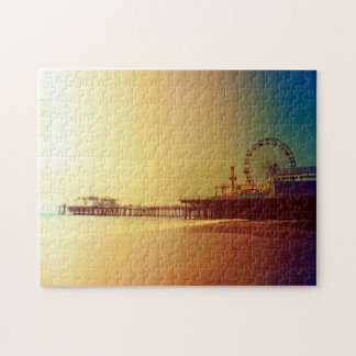 Santa Monica Pier - Orange Sunrise Photo Edit Jigsaw Puzzle