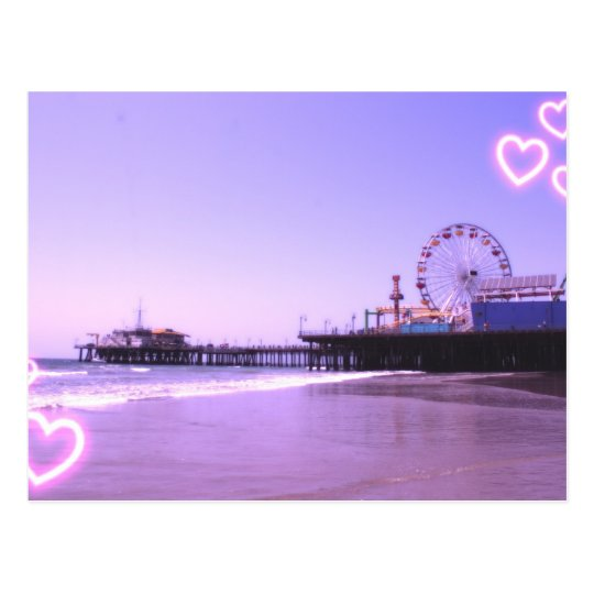 Santa Monica Pier Purple Hearts Postcard