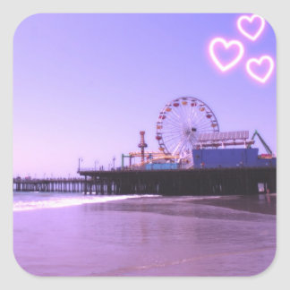 Santa Monica Pier Purple Hearts Square Sticker