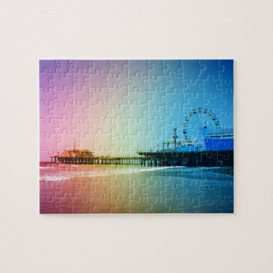 Santa Monica Pier Rainbow Colours Jigsaw Puzzle